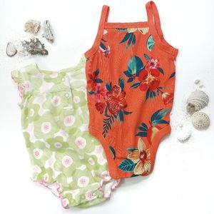 2 Tropical Print Onesies size 3-6 Months
